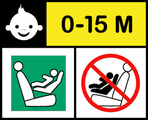 Icono en la silla que cumple la normativa i-size